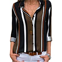 Astylish Women's V Neck Roll up Sleeve Button Down Blouses Tops