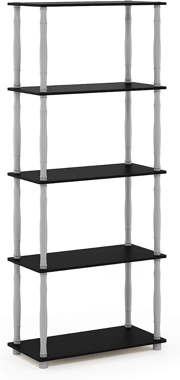 Furinno Turn-N-Tube 5-Tier Multipurpose Shelf Display Rack, Classic, Black/Grey