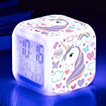 Unicorn Alarm Clocks for girs,7-in-1 Night Light Kids Alarm Clocks with