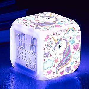 Unicorn Alarm Clocks for girs,7-in-1 Night Light Kids Alarm Clocks with LED Glowing Bedroom Wake Up Alarm Clock Gifts for Unicorn Room Decor for Girls Bedroom (White)