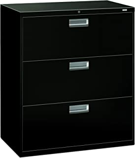 product image for HON Brigade 3-Drawer Filing Cabinet - 600 Series Lateral Legal or Letter File Cabinet, Black (H683)