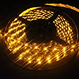 EverBright Super Brightness Amber 5M(16.4Ft) 3528 SMD 60LED/M 300 LED Waterproof Flexible Light Strip PCB Black For Car truck Neon Undercar Lighting Kits Mall booth House decoration Stage music Coloreful lights