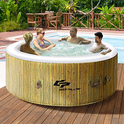 Goplus 4 Person Inflatable Hot Tub Outdoor Jets Portable Heated Bubble Massage Spa Set w/ Filter & Repair Kit (Beige)