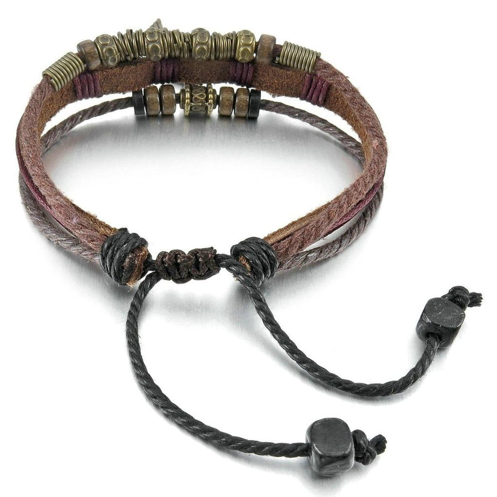 Men Womens Alloy Genuine Leather Bracelet Bangle Cuff Rope Angel Wing Cross Surfer Wrap Adjustable Brown