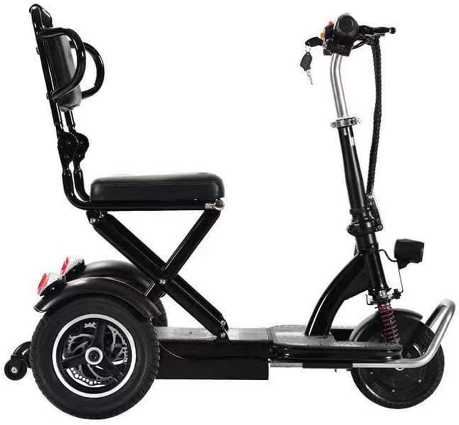 YDBET Triciclo Plegable eléctrico, Mini portátil Plegable Scooters eléctricos Triciclo para Adultos de 3 Marchas con LED luz Nocturna Marco de Litio de la batería de Acero para Mayor Viejos
