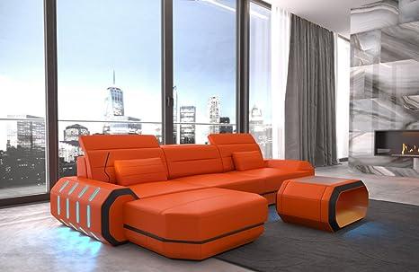 Divano Pelle Arancione : Sofa dreams divano roma l in pelle colore arancione nero amazon