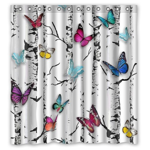 FMSHPON Butterfly Waterproof Fabric Bathroom Shower Curtain 66 x 72 Inches -