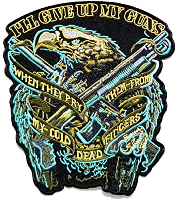 "9.5"" Big Large Jumbo GIVE UP MY GUN Eagle Hawk Bald Biker Rider Punk Rock Tatoo Military Army Jacket T-shirt Patch Sew Iron on Embroidered Sign Badge Costume"