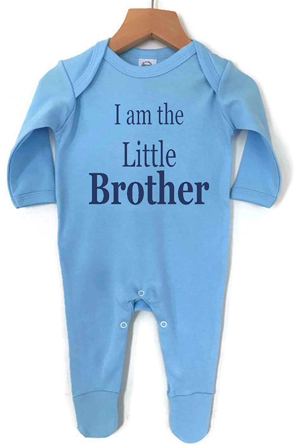 I Am The Little Brother Baby Boy Girl Made in England 100/% cotton Vests Babygrow Sleepsuit
