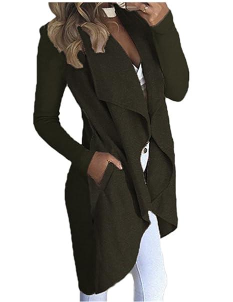 Boutiquefeel Abrigo de Recorte Irregular Chaqueta con Bolsillo para Mujer: Amazon.es: Ropa y accesorios