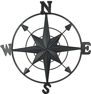Chesapeake Bay Ltd Distressed Black Enamel Metal Decorative Compass Rose Wall Hanging 21 Inch Diameter