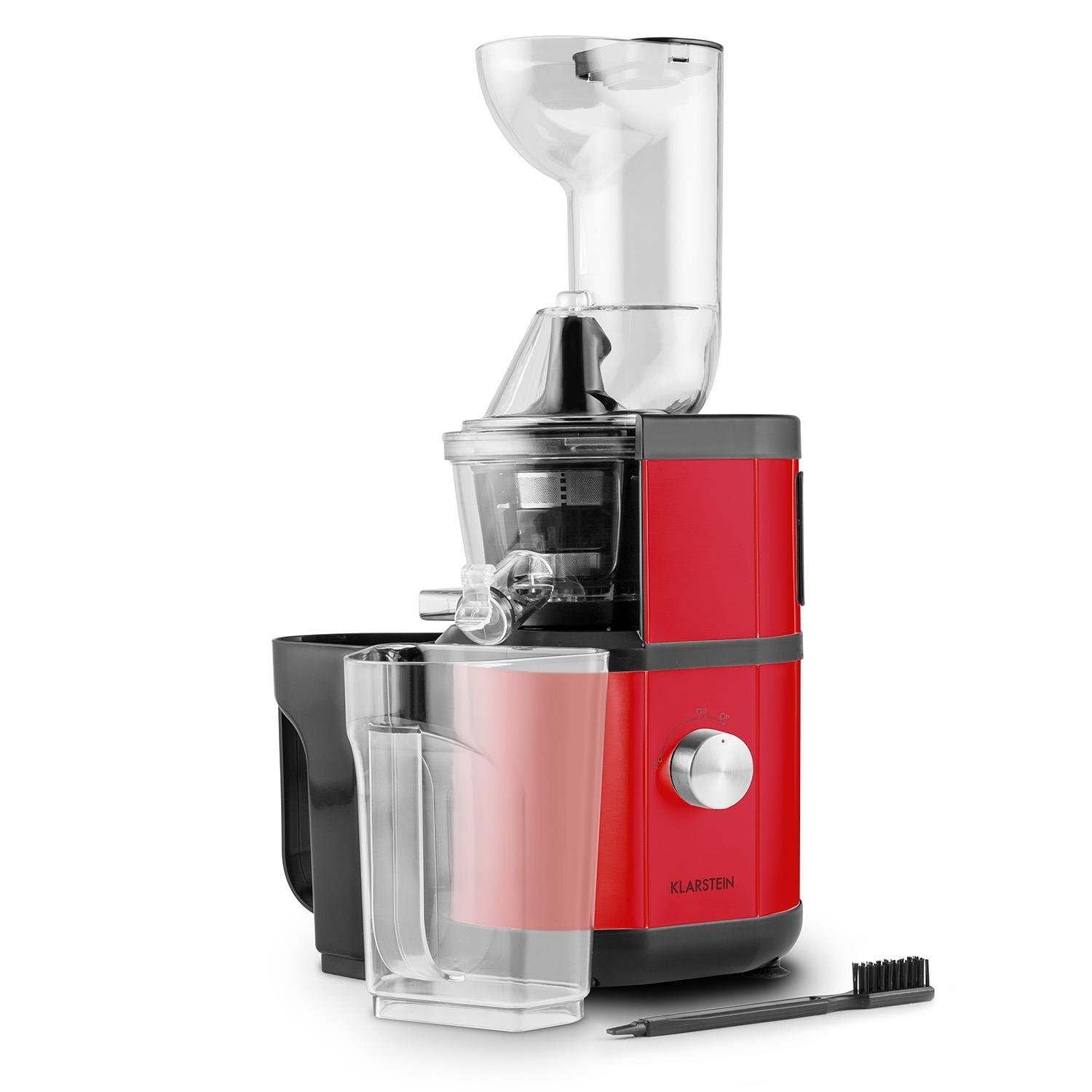 Klarstein Fruitberry Slow Vertical Juicer • No Fruit or Seeds Remain • 2 Containers with 1000ml Capacity Included • 400W • 60 RPM • Filler Tube with 8.5cm Diameter • Stainless Microsieve • Red