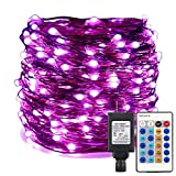 ER CHEN Dimmable LED String Lights Plug in, 165ft 500 LED Super-Long Fairy Lights with Remote, Indoor/Outdoor Copper Wire Christmas Decorative Lights for Bedroom, Patio, Garden, Yard, Party-Purple