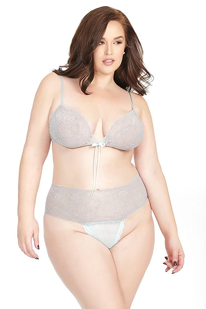433ab5481fa3 Amazon.com: Coquette Women's Plus-Size Diva Bra Top and Crotch Less Panty,  Misty Blue/Grey, One X-Large: Clothing