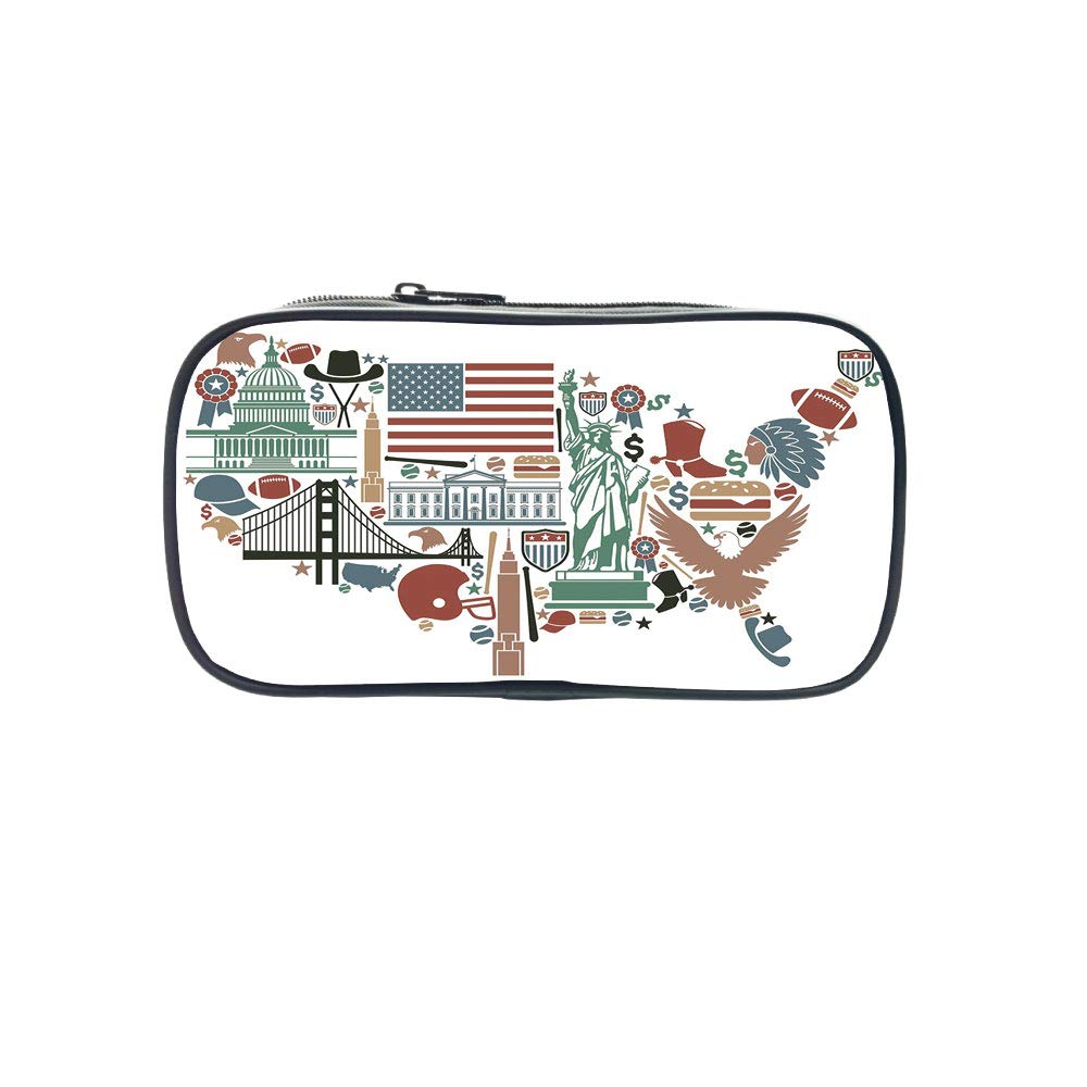 Strong Durability Pen Bag,Map,Traditional Symbols in The Form of United States of America Map Travel Landmarks Flag Decorative,Multicolor,for Students,Diversified Design