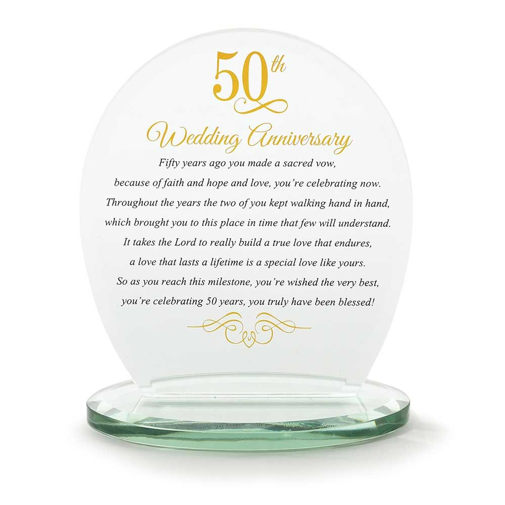 Dicksons 50th Wedding Anniversary Yellow 6 x 6.5 Glass Table Top Sign Plaque by Dicksons