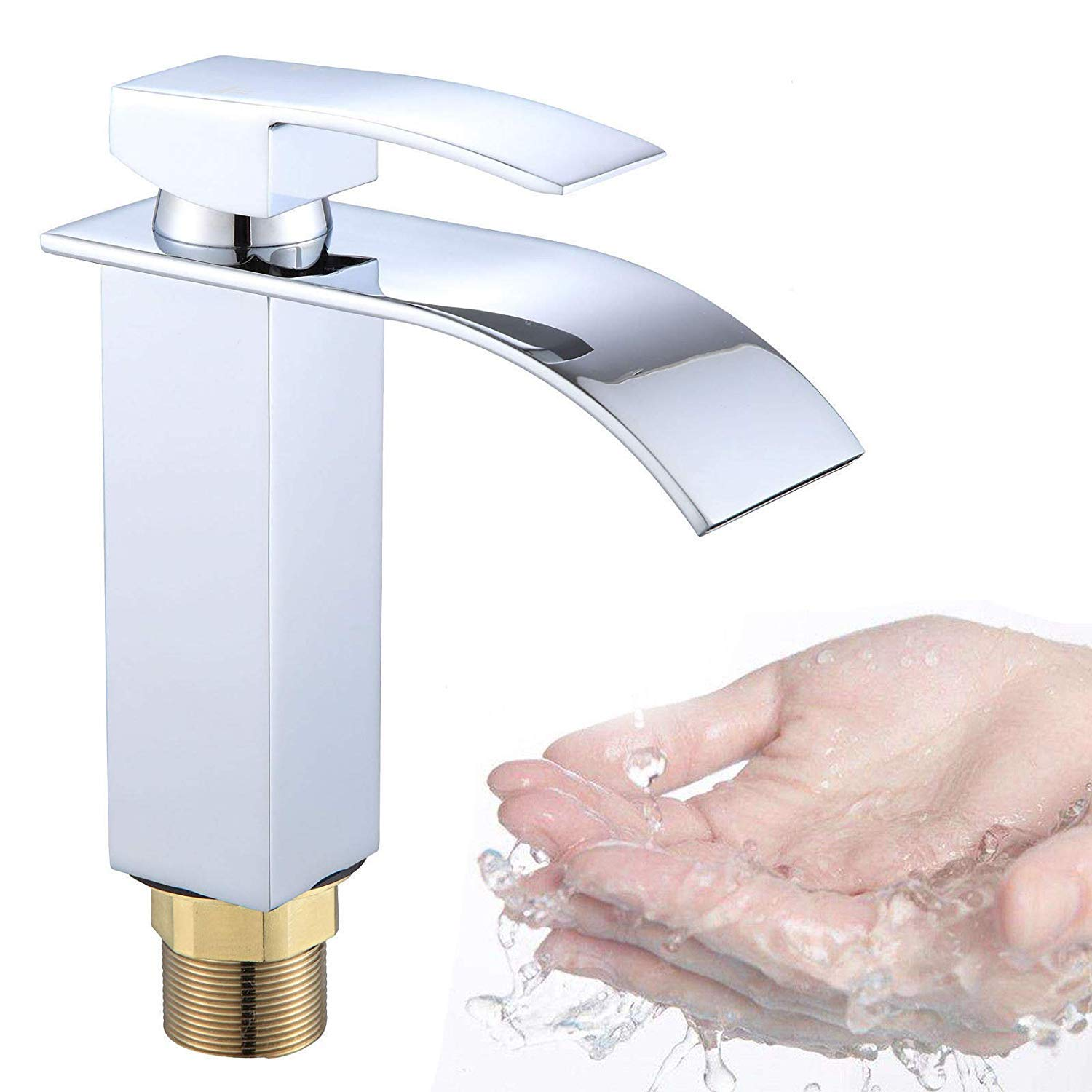 Tap Bathroom Mixer Sink Kitchen Sink Faucet Solid Brass Saving Water Low Pressure Waterfall Corner Faucet Cold/hot Water