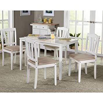 Table And Chairs 5 Piece Dining Set, White Dinette Kitchen Breakfast Table  And Chairs