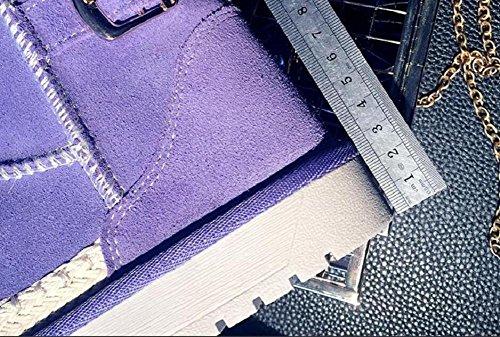 Casual piatto stivaletto corto tubo donna ispessito agnello pelliccia stivali da neve , purple , 37