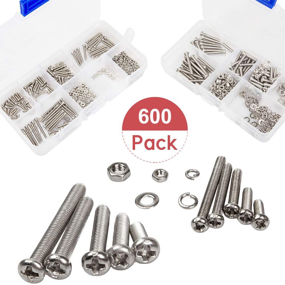 LANIAKEA Nickel Plated Carbon Steel Metric Machine Screw Set with Storage Cases 600 Pcs M2 M3 Phillips Pan Head Screws Bolt Nut Lock Flat Washers Assortment Kit