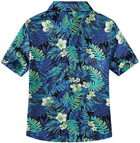 SSLR Big Girls Jungle Prints Button Down Short Sleeve Aloha Hawaiian Shirt