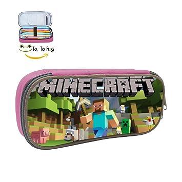 Minecraft estudiantes bolsa de gran capacidad estuche de lona pluma papelería caso: Amazon.es: Oficina y papelería