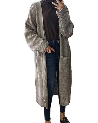 Abrigo Tejido Mujer Largo Elegante Anchas Manga Largo Abierto Pullover Abrigos Colores Sólidos Sencillos Casual Moda Joven Niña College Sweater Outerwear ...