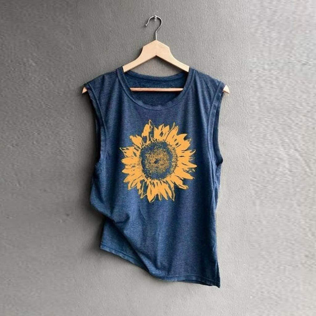 Transer Womens Tank Tops Sunflower Printed Vest Crew Neck Sleeveless T-Shirt Summer Casual Tee Blouses