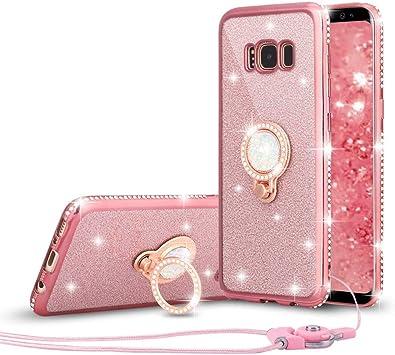 LCHULLE Funda para Samsung Galaxy S7 Edge Purpurina Carcasa con Brillante Diamante Anillo Soporte Ultra Delgada TPU Silicona Funda Suave Resistente Cubierta Case Protector para Mujer,Oro Rosa: Amazon.es: Electrónica