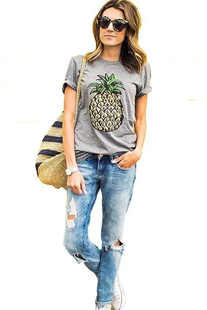 Camisetas y Camisas Europa Marca de Moda de impresión de piña Tops Mujer 2018 de Verano Informal Camisa de Manga Corta más Grande Clothing: Amazon.es: Ropa y accesorios
