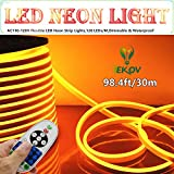 LED NEON LIGHT, IEKOV™ AC 110-120V Flexible LED Neon Strip Lights, 120 LEDs/M, Dimmable, Waterproof 2835 SMD LED Rope Light + Remote Controller for Party Decoration (98.4ft/30m, Golden Yellow)