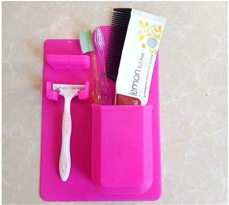 Tmrow - Soporte de silicona para cepillo de dientes, organizador de baño, pasta de