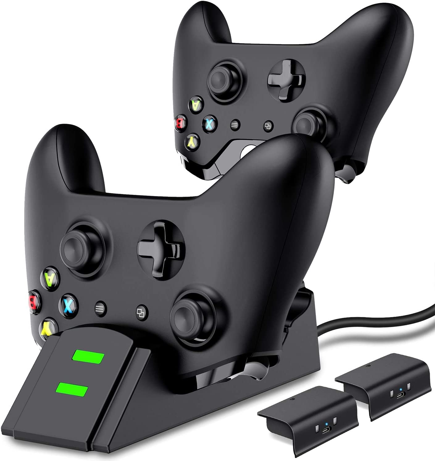 Xbox One Controller Charger, Xbox Controller Charging Station for Xbox One/One X/One S/One Elite, Xbox One Charger with 2 x 800mAh Rechargeable Battery Packs