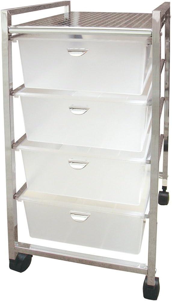 Laroom Carrito Ancho 4 cajones, Chrome Acero Inoxidable Structure y PP Drawers, Blanco