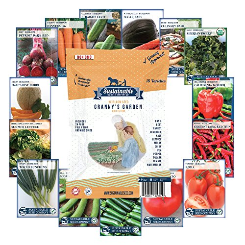 6,600+ Heirloom Seeds, 15 Variety Granny's Garden, Non GMO Heirloom Vegetable Garden Seeds, Beet, Carrot, Cucumber, Basil, Kale, Lettuce, Melon, Onion, Pea, Pepper, Squash and Tomato (Planting Garden)