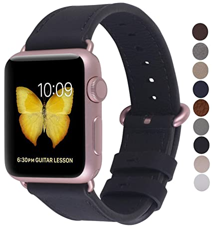 JSGJMY Compatible with Iwatch Band 38mm 40mm Women Genuine Leather Loop  Replacement Strap Compatible with Iwatch Series 4 3 2 1 Sport Edition(38mm