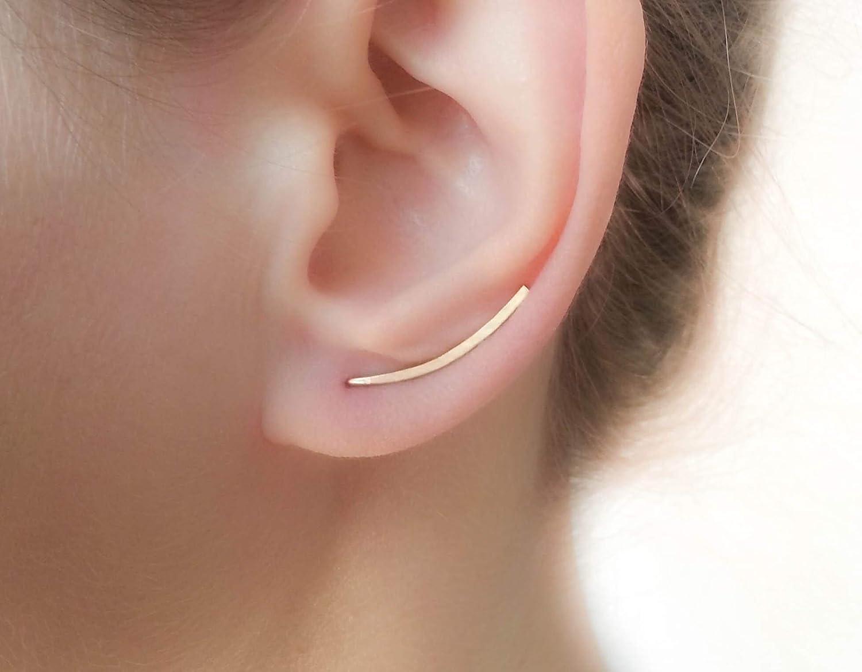 Gold Earrings Ear Climbers Flat Dainty Curved Bar Climbing Studs Comfortable