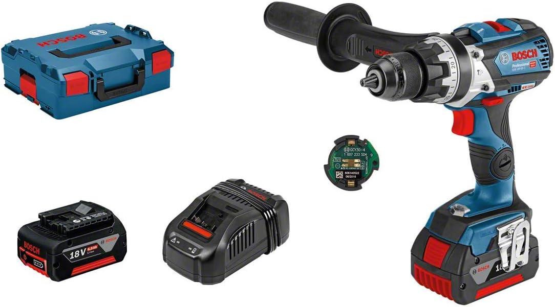 Bosch Professional GSB 18V-85 C Taladro percutor, 5.0 Ah + 1 batería x 3.0, módulo Connectivity, 90 W, 18 V, en maletín, Edición Amazon, Azul
