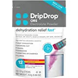 DripDrop ORS – Patented Electrolyte Powder for Dehydration Relief Fast - For Workout, Hangover, Illness, Sweating & Travel Recovery - Watermelon, Berry, Lemon Variety Pack - 12 x 8.89oz Servings