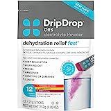 DripDrop ORS Electrolyte Hydration Powder Sticks, Variety Pack (4 Lemon/4 Berry/4 Watermelon), 21g Sticks, 12 Count