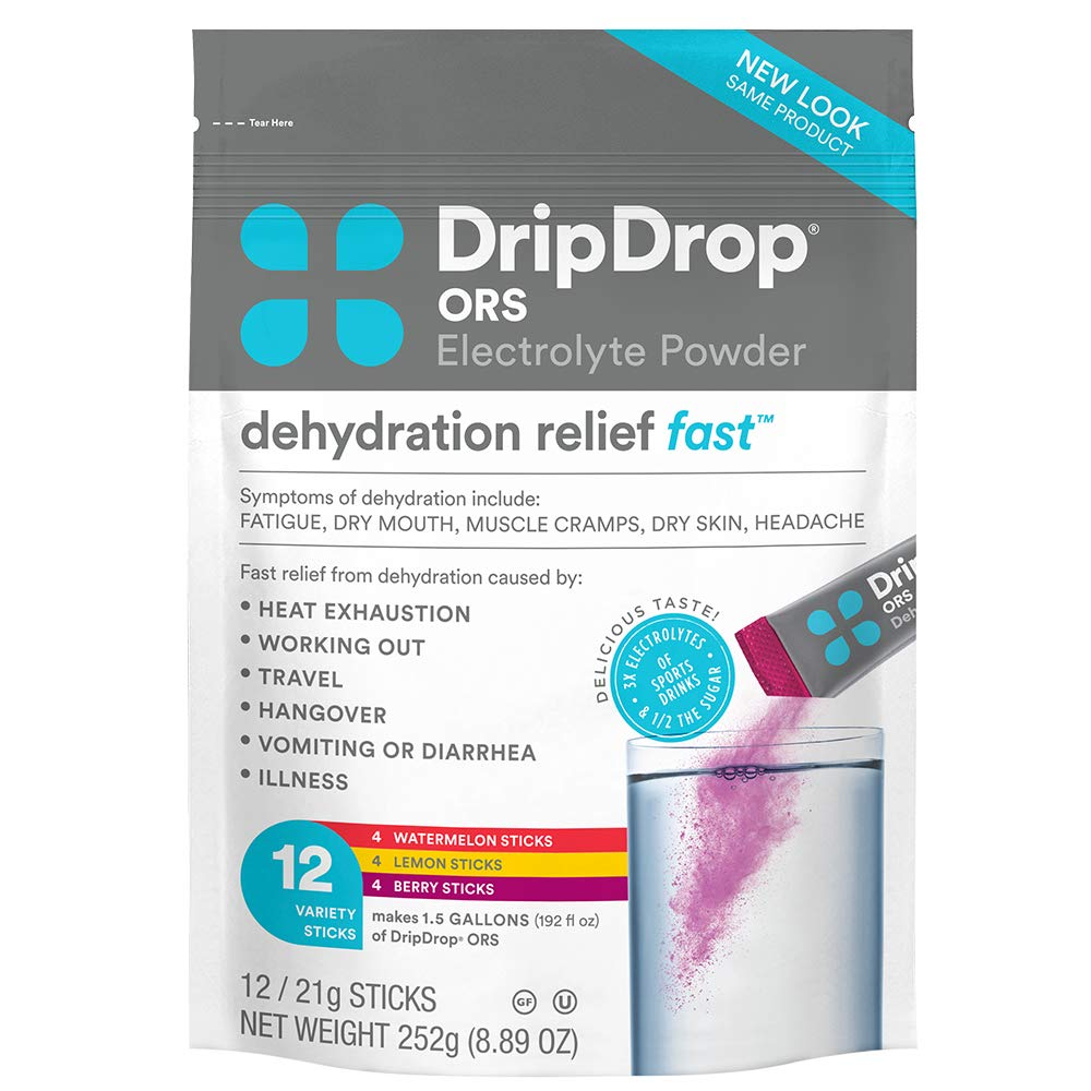DripDrop ORS - BIG Sticks - Electrolyte Powder For Dehydration Relief Fast - For Workout, Sweating, Illness, & Travel Recovery - Watermelon, Berry, Lemon Variety Pack - 12 x 16oz Servings
