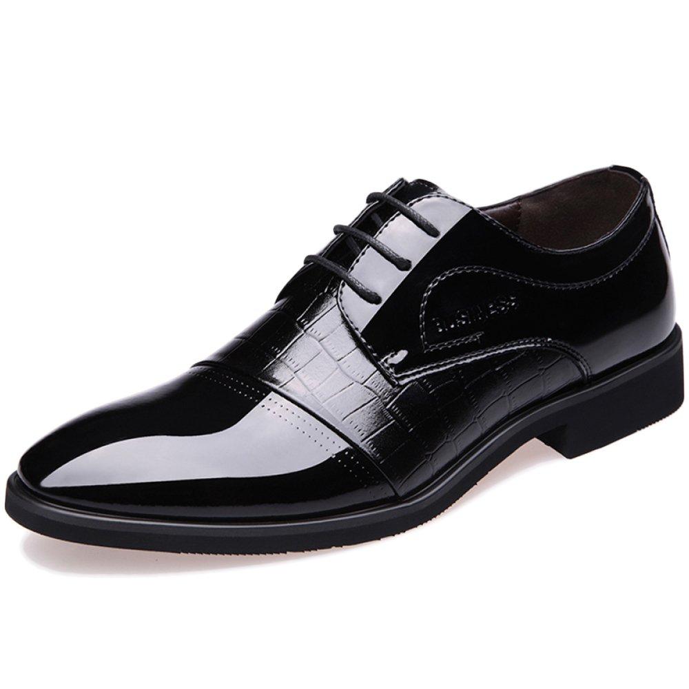 para Hombre De Negocios Formal Derby Puntiagudo con Cordones Vestido De Fiesta Zapatos Uniformes Zapatos Casuales De La Boda De Oxford EU43/UK8|Black