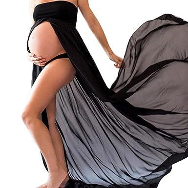 737f68c6d5 Maternity Split Front Sheer Chiffon Maternity Gown Maxi Bridesmaid Dress  for Photos Shoot (Black)