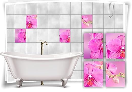 Medianlux Fliesenaufkleber Fliesenbild Aufkleber Blumen Orchidee Spa