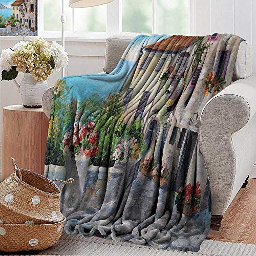 - Weighted Blanket for Kids Old Houses in a Small Town Near The Sea Flower Pots at Windows Oil Painting Blue Ivory Red Green Orange Weighted Blanket for Adults Kids Better Deeper Sleep 35