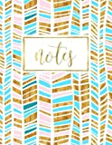Notes: Gold Pink & Blue Chevron Pattern Notebook Diary & Journal (Volume 9)