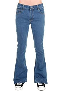 facc6e3e2cd Run   Fly Mens 70s Retro Vintage Blue Stonewash Stretch Denim Bell Bottom  Flares