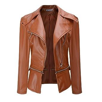 Chaqueta de piel felicove, invierno calientes Mujeres Faux Cuello abrigo corto piel chaqueta Parka Abrigo