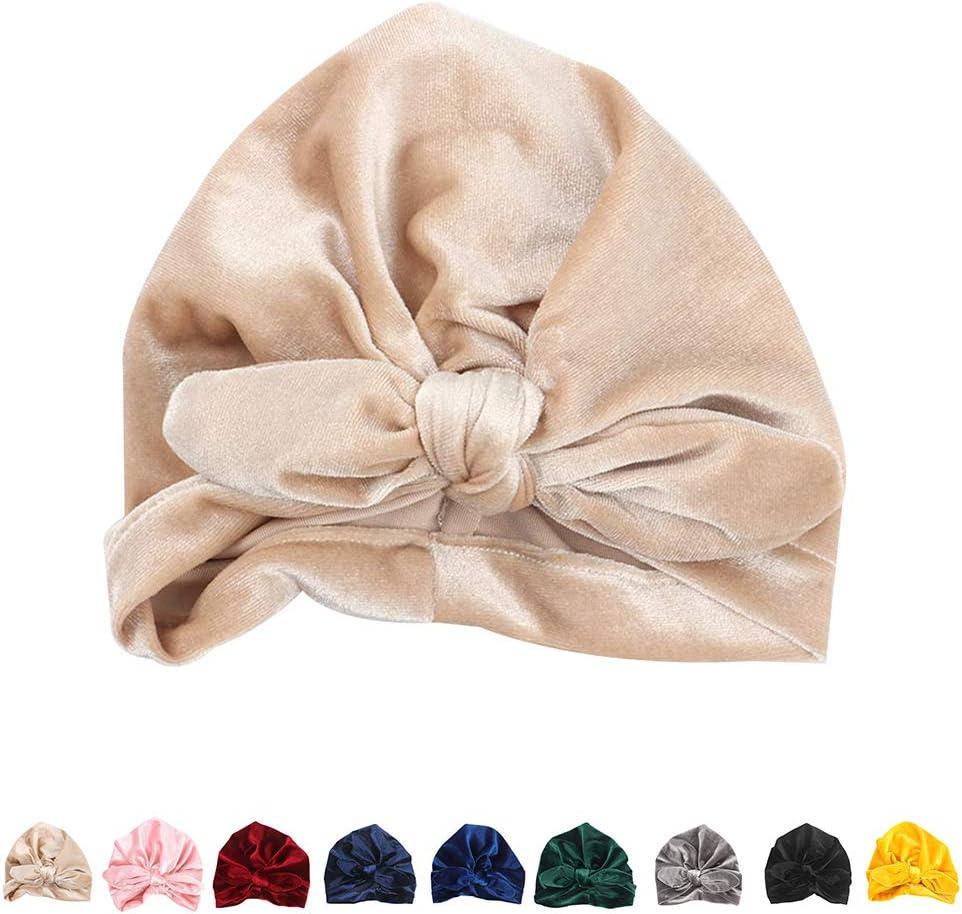 Baby Girl Velvet Turban Hat Toddler Infant Bow Headband Bunny Ear Headwraps Knotted Wrap Headdress