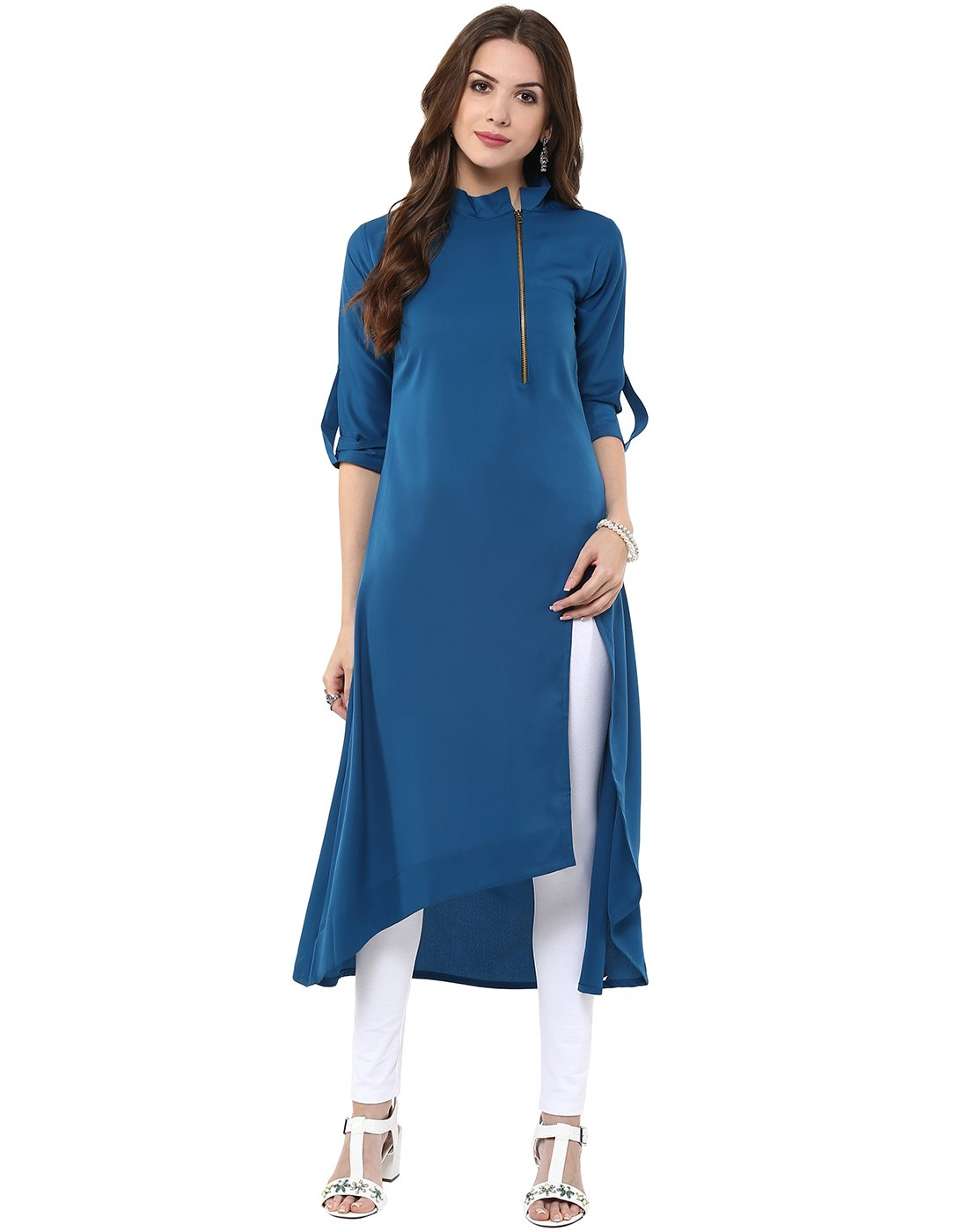 Janasya Indian Tunic Tops Crepe Kurti for Women (JNE1233-BLUE-KR-031-XL)
